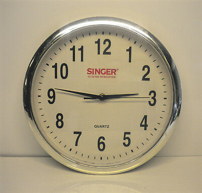 """Vintage Singer Sewing Machine Co 12"""" Diameter Wall Clock Chrome Outer Rim"""