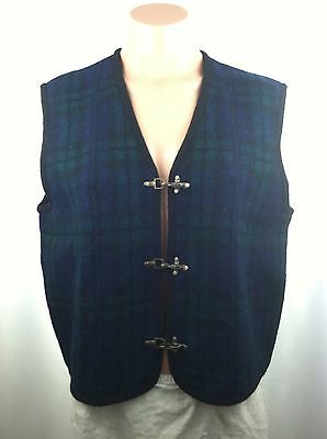 Tally-Lho Wool Vest Small Sleeveless Checkered RARE Blue Green Casual Winter
