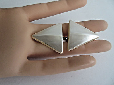 Vintage Triangle Shape Faux Mother of Pearl MOP Plastic Clip-on Earrings