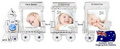 CRYSTOCRAFT Baby Boy Train Photo Frame with SWAROVSKI Crystals