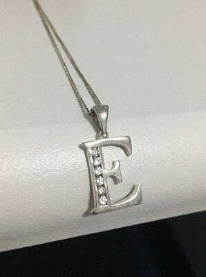Silver 'E' Initial Necklace In Gift Box