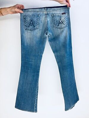 eb9e779cd9b92 7 For All Mankind A Pocket Flare Leg Blue Maternity Jeans Full Belly Panel  26x29