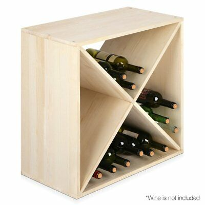 24 Bottles Pine Wood Wine Rack Storage Stand Bar Timber Wine Holder Organiser AU