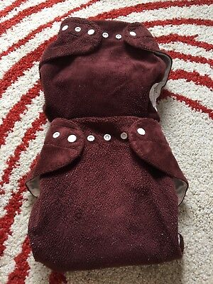 2 Brown EUC Baby Beehinds Magic Alls Modern Cloth Nappy All In One Nappies