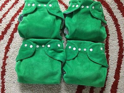 4 Emerald EUC Baby Beehinds Magic Alls Modern Cloth Nappy All In One Nappies