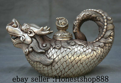"10"" Marked Old China Silver Dynasty Palace Dragon Fish Beast Wine Pot Flagon"