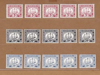 Hong Kong 1960's-70's Postage Due stamps 5c, 20c & 50c x 5 groups fresh MNH