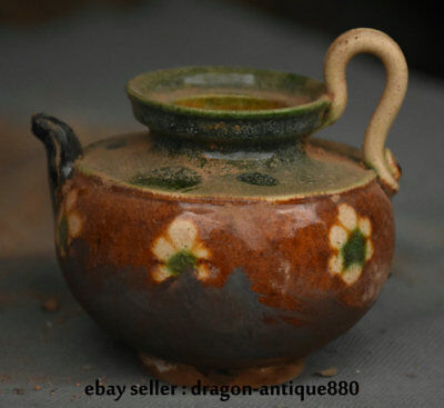 "3.6"" Old China Tang San Cai Pottery Dynasty Palace Flower Handle Wine Pot Flagon"