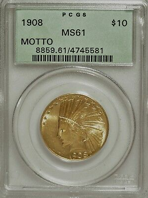1908 Motto $10 Gold Indian Eagle Pcgs Ms-61 Ogh Very Pq