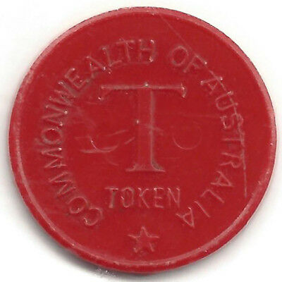 Commonwealth Of Australia T(ea) Token Red Plastic 21 mm Approx Blank Reverse