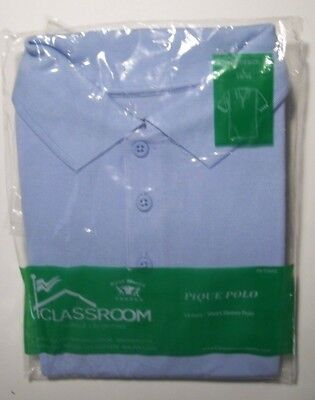 Youth Unisex Blue Short Sleeve Pique Polo Shirt by Classroom - Size: L(14/16)