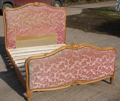 PRETTY EARLY / MID 20th CENTURY   FRENCH UPHOLSTERED DOUBLE  BED WITH BASE