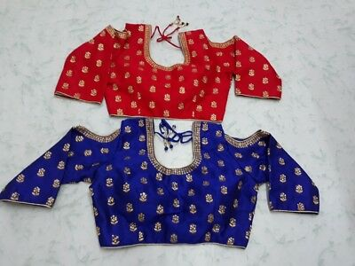 USA red blue Saree blouse Ready made stone work embroidered