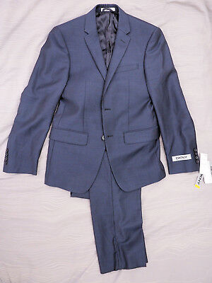 New Dkny Navy Pindot Flt Front 2 Piece Two Button Wool Suit 36S / 29W
