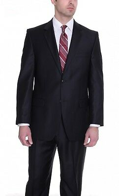 Alfani Red 2 Piece Two Button Black Slim Fit Wool Suit 36S / 30W