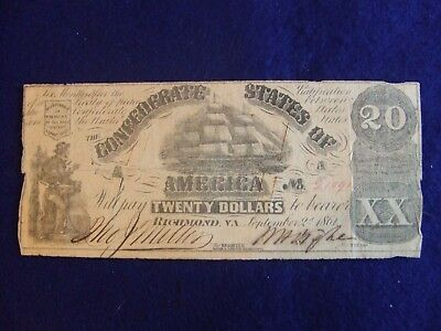 Confederate Currency 1861 Richmond $20 Note ~ Cut Cancelled