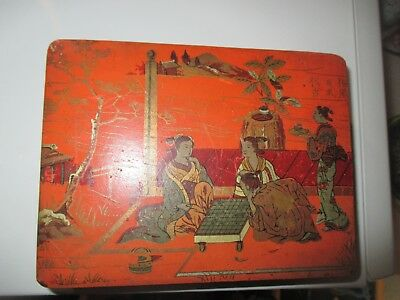 Antique Japanese / Chinese  Lacquered & Painted Box