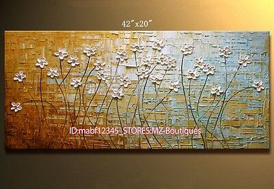 """YH726 42X20""""Hand painted Oil Canvas Wall Art home Decor abstract flower NO Frame"""