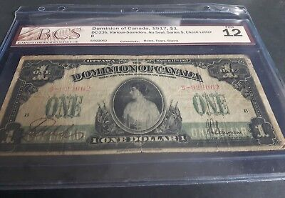 1917 $1 Canadian bank note