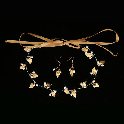 Wedding Party Prom Jewelry Set Gold Leaves Pearl Bridal Hair Vine Earrings