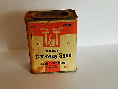 "Vintage ""warfields' T & T Whole Caraway Seed Tin - Possibly Pre-Chicago Fire."