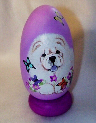 Hand painted cream chow wooden egg by Useableart