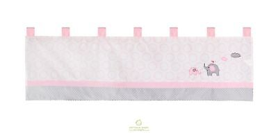 One OptimaBaby Pink Grey Elephant Window Valance