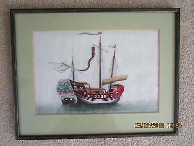Antique/vintage Chinese painting of boat/junk  on rice paper pith paper.