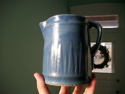 Ruckel's Icicle Pattern Scarce Size Stoneware Pitcher White Hall Illinois Blue