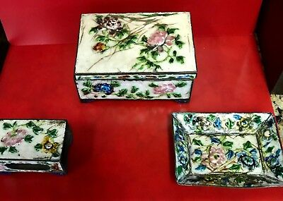 Antique Chinese Cloisonne and Enamel Brass Wood Lined Trinket Box 3 Piece Set