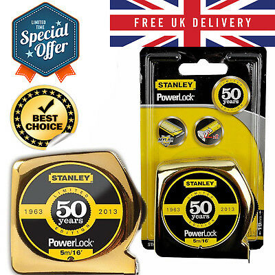Stanley Powerlock Tape Measure Gold Limited Edition Corrosion Resistant 5m UK