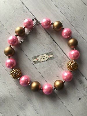 Baby, Toddler, Girls Chunky Pink & Gold Bubblegum Necklace