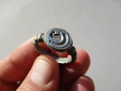 nice late Roman/Byzantine silver ring, nicely engraved  - zoomorphic seal