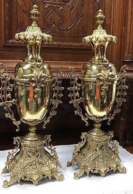 "Large Antique Pair Of French Urns Vases 17"" Tall 1880"