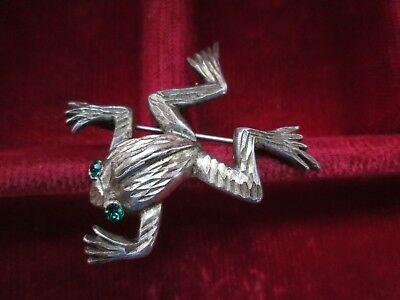 Vintage Jewellery Adorable Pewter Emerald Eyed Frog Art Deco Brooch Pin