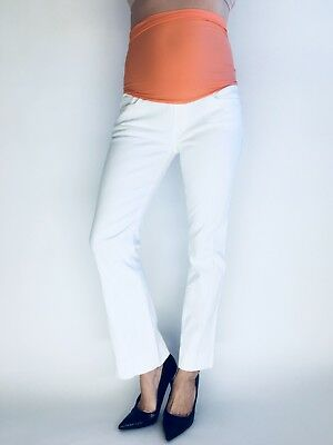 03c9277953f7a 7 For All Mankind Bootcut Leg White Denim Maternity Jeans Full Belly Panel  28x29