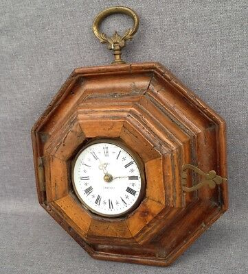 Antique french clock made of wood and bronze nice details early 1900's