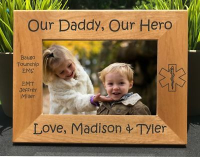 Personalized Engraved // My Dad, My Hero, EMT / Paramedic // Picture Frame