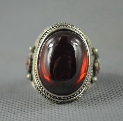 Exquisite Collectable Handwork Miao Silver Carve Flower Inlay Crystal Noble Ring