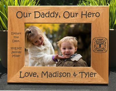 Personalized Engraved // My Daddy, My Hero Firefighter // Picture Frame // Dad