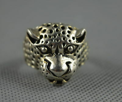 Collectable Handwork Decorative Old Miao Silver Carve Leopard Exorcism Evil Ring