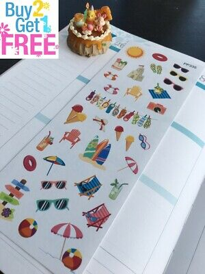 PP335 -- Summer Beach Party Icons Planner Stickers for Erin Condren (41pcs)