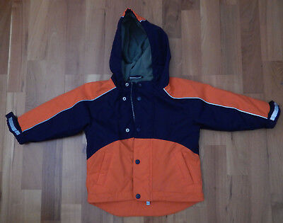 HANNA ANDERSSON FLEECE LINED PARKA JACKET Orange and Blue - Size 90 (T3)