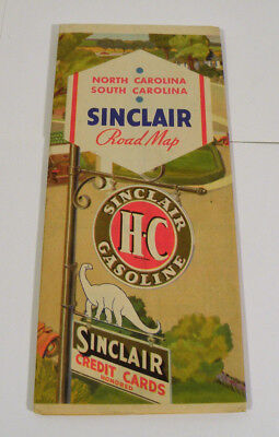 Vintage 1930s Sinclair Road Map North & South Carolina Gas Oil Dino