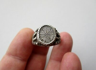 ancient late Roman/Byzantine solid silver granulated ring, beautiful carved star