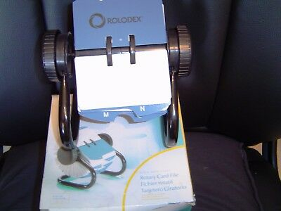 NEW-Rolodex Open Rotary Card File with 500 2-1/4 x 4 Inch Cards and24 Guides-BLK