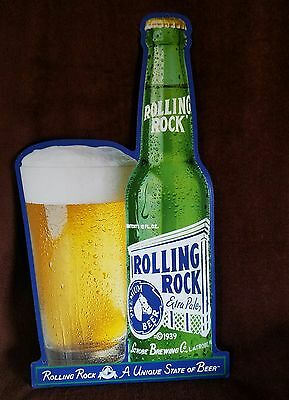 "1998,""rolling Rock Beer Sign"" Latrobe Brewing Co.'27""t X 14 1/2""w"