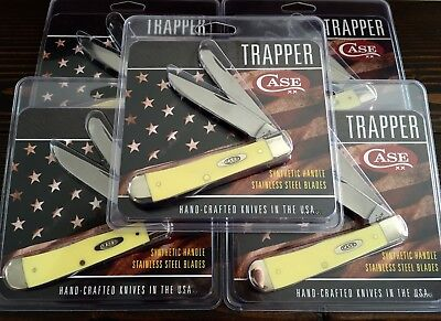 NEW - Case XX Yellow Trapper SS Vintage Knives - Made in USA - LOT OF 5