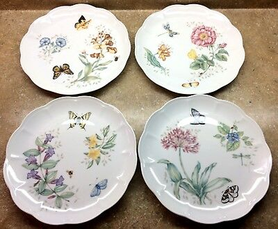 "(4) 11"" Lenox Fine China "" Butterfly Meadow "" Garden Party Dinner Plates ALL VGC"