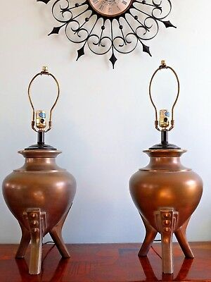 Pair of Antiqued Brass Urn Table Lamps Tripod Metal Base Art Deco Reliance VTG